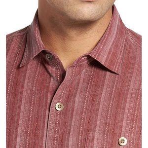Tommy Bahama Zaldera Stripe Red Mens Button up S//S Shirt Small 100/% Silk NWT!